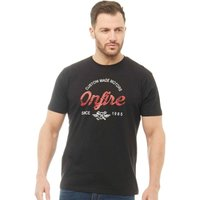 Onfire Mens T-Shirt With Chest Print Black