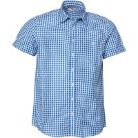 Onfire Mens Short Sleeved Gingham Checked Shirt Royal/White