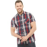Onfire Mens Checked Short Sleeve Shirt Navy/Red/White