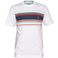 Original Penguin Mens Chest Printed Stripe T-Shirt Bright White