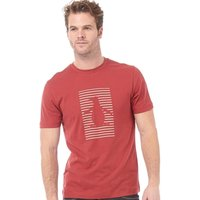 Original Penguin Mens Shadow Stripe Pete Graphic T-Shirt Brick Red