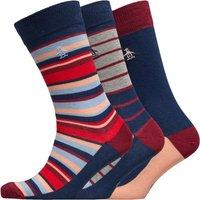 Original Penguin Mens Three Pack Socks Red/Blue/Grey Stripe