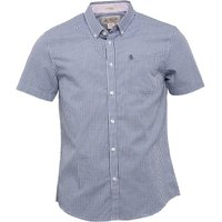 Original Penguin Mens Short Sleeve Gingham Shirt Dark Denim