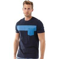 Original Penguin Mens Block Stripe T-Shirt Dark Sapphire