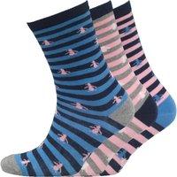 Original Penguin Womens Three Pack Socks Stripe Blue Pink