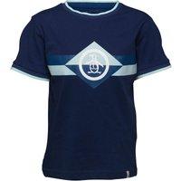 Original Penguin Boys Block Stripe Jersey T-Shirt Blue Depths