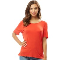 Only You Womens Ena String Back Short Sleeve Top Flame Scarlet