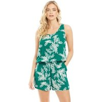 Only Womens Nova Lux All Over Print Playsuit Cadmium Green/Summer Palm