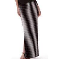 Only Womens Abbie Stripe Long Slit Skirt Black/Light Grey Marl