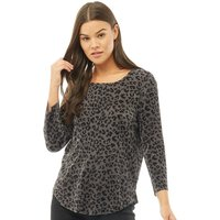 Only Womens Liga 2.0 3/4 Sleeve Top Black Olive/Liga Leo