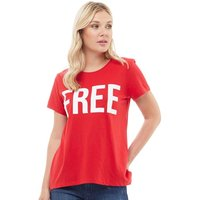Only Womens Riva Free Printed T-Shirt High Risk Red/Bright White