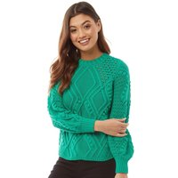 Only Womens Hilde Cable Knit Jumper Simply Green