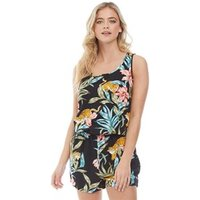 Only Womens Nova All Over Print Playsuit Black/Jungle Zoo