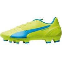Puma Junior evoSPEED 1.4 FG Football Boots Safety Yellow/Atomic Blue/White