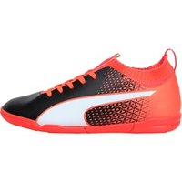 Puma Junior evoKNIT FTB IT Indoor Football Boots Black/White/Fiery Coral