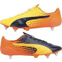Puma Mens evoSPEED 17 Super Lightweight Mix SG Football Boots Ultra Yellow/Peacoat/Orange Clown Fish