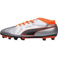 Puma Mens One 4 Syn FG Football Boots Puma Silver/Shocking Orange/Puma Black