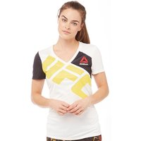 Reebok Womens UFC Jersey T-Shirt Chalk/Black/Yellow