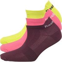 Reebok Womens One Series Cushioned Three Pack Ankle Socks Semi Solar Yellow/Semi Solar Pink