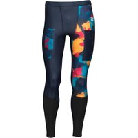 Reebok Mens CrossFit Compression All Over Print Tight Leggings Dark Blue/Fire Spark