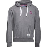 Fred & Boston Mens Hoody With Chest Embroidery Mid Grey Marl