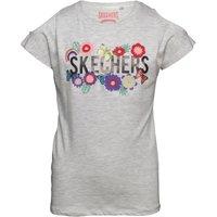 SKECHERS Girls Meadow Applique Flower Print Cold Shoulder Top Grey Marl