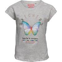 SKECHERS Girls Gypsy Crochet Panel Butterfly Print Top Grey Marl