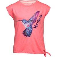 SKECHERS Girls Honey Tie Detail Sequin Hummingbird Top Pink