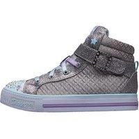SKECHERS Girls Quilted Diamonte Buckle Twinkle Toes Hi Tops Silver