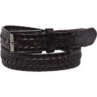 Ted Baker Mens Wicker Leather Woven Belt Chocolate