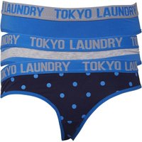Tokyo Laundry Womens Betsy Three Pack Briefs Light Grey Marl/Blue Stripes/French Blue/Eclipse