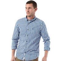 Timberland Mens Gingham Washed Poplin Long Sleeve Shirt True Blue