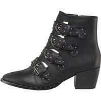 Truffle Collection Womens PU Multi Buckle Block Heel Boots Black