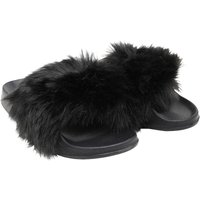 Truffle Collection Womens Fluffy Slide Sandals Black