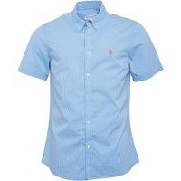 U.S. POLO ASSN. Mens Divot Short Sleeve Gingham Shirt Bonnie Blue
