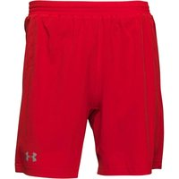 Under Armour Mens HeatGear Launch 7 Inch 2 In 1 Shorts Rocket Red