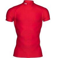 Under Armour Mens ColdGear Evo Compression Short Sleeve Mock Top Red