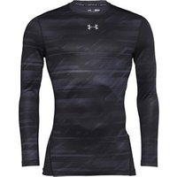 Under Armour Mens ColdGear Armour Printed Long Sleeve Compression Crew Top Black