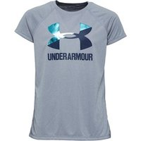 Under Armour Junior Girls HeatGear Big Logo Solid Top Grey
