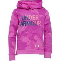 Under Armour Girls Rival Logo Fleece Wordmark Hoodie Purple