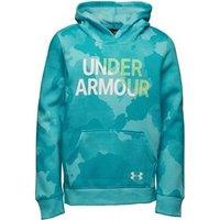 Under Armour Junior Girls Rival Logo Fleece Wordmark Hoodie Blue