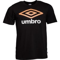Umbro Mens Large Logo T-Shirt Black/Orange Pop/White