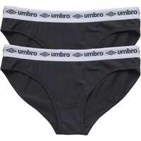 Umbro Womens Two Pack Briefs Black/Black