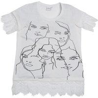 Junarose Womens Lace Trim Face T-Shirt Ivory