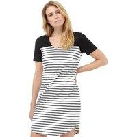 Vila Womens Tinny Blocked Stripe Dress Black/Snow White