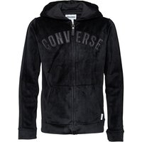 Converse Junior Girls Velour Zip Through Hoody Black