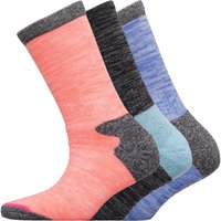 WEATHERPROOF Womens Three Pack Thermal Crew Socks Blue/Pink/Black