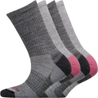 WEATHERPROOF Womens Four Pack Thermal Crew Socks Grey/Pink