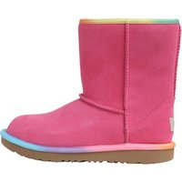 UGG Junior Girls Classic Short II Rainbow Boots Pink Azalea