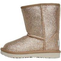 UGG Toddler Girls Classic Short II Glitter Boots Gold